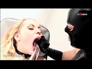 Bdsm slave gagging and getting butt dildoed for piss
