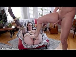 Guy anal fucks gf and her mom in bondage