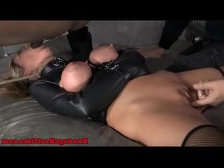 Bondage fetish rain degrey tied to bed