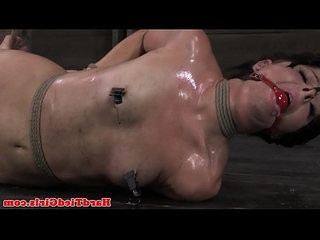Tied up ballgagged bdsm sub roughed up