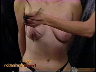 Raunchy blonde slut with tits gets hard by a dominatrix
