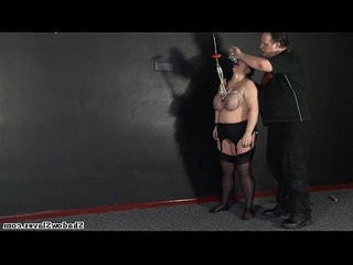 Tit hanging of mature roped slavegirl andrea in extreme big tit whipping