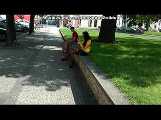 Busty blonde chick in stockings masturbates in the street