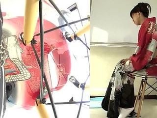 Subtitled cfnm Japanese kimono pee desperation failure in HD