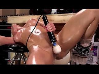Huge natural tits oiled mature anal fucks machine