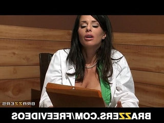 Big tit brunette uses her patient for a sexy threesome
