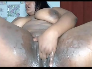 Horny black bbw squirts all over